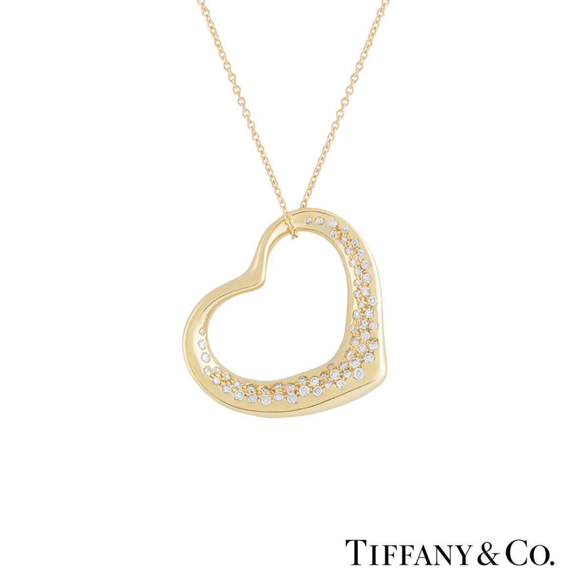 Tiffany & Co. Yellow Gold Diamond Elsa Peretti Necklace 0.42ct G/VS